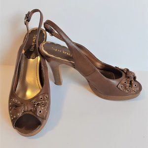 Beautiful Brown Leather Heels Sandals by Spring🌸